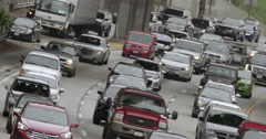 Angled view of approaching northbound traffic on 110 freeway in LA 4K - stock footage