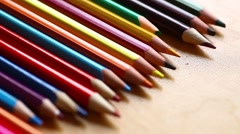 Pencils on a table Stock Footage