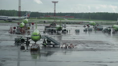 Airport Infrastructure. Rainy weather, several planes are Stock Footage