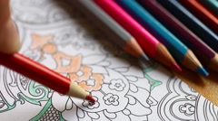 Pencil coloring book Stock Footage