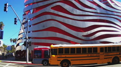 Side View Pan Of Petersen Automotive Museum- Culver City CA Stock Footage