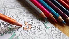 Pencil coloring book - stock footage
