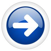right arrow icon, circle blue glossy internet button, web and mobile app illu - stock illustration