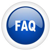 faq icon, circle blue glossy internet button, web and mobile app illustration - stock illustration