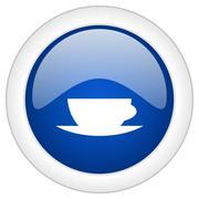 espresso icon, circle blue glossy internet button, web and mobile app illustr - stock illustration