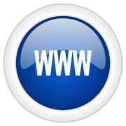 www icon, circle blue glossy internet button, web and mobile app illustration - stock illustration