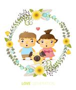 Love generation greeting card - stock illustration