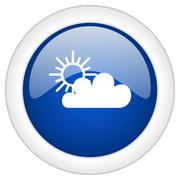 Cloud icon, circle blue glossy internet button, web and mobile app illustrati Piirros