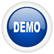demo icon, circle blue glossy internet button, web and mobile app illustratio - stock illustration