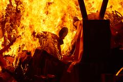 Fallas popular fest burning cartoon figures Stock Photos