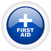 First aid icon, circle blue glossy internet button, web and mobile app illust Stock Illustration