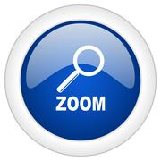 zoom icon, circle blue glossy internet button, web and mobile app illustratio - stock illustration