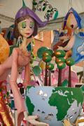 Fallas fest popular figures will burn in March 19 - stock photo