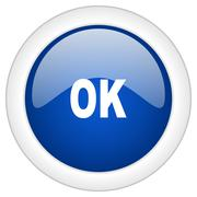 ok icon, circle blue glossy internet button, web and mobile app illustration - stock illustration