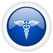 emergency icon, circle blue glossy internet button, web and mobile app illust - stock illustration