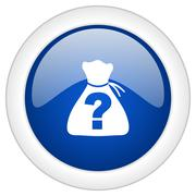 riddle icon, circle blue glossy internet button, web and mobile app illustrat - stock illustration