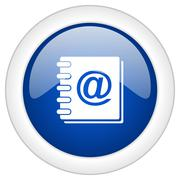 address book icon, circle blue glossy internet button, web and mobile app ill - stock illustration