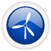 windmill icon, circle blue glossy internet button, web and mobile app illustr - stock illustration