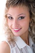 Beautiful coquette young woman, on white Stock Photos