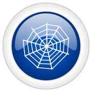 spider web icon, circle blue glossy internet button, web and mobile app illus - stock illustration