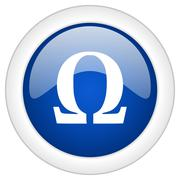Omega icon, circle blue glossy internet button, web and mobile app illustrati Piirros