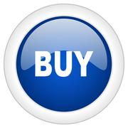 buy icon, circle blue glossy internet button, web and mobile app illustration - stock illustration