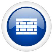 Firewall icon, circle blue glossy internet button, web and mobile app illustr Piirros