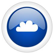cloud icon, circle blue glossy internet button, web and mobile app illustrati - stock illustration