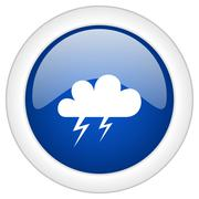 Storm icon, circle blue glossy internet button, web and mobile app illustrati Stock Illustration