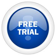 free trial icon, circle blue glossy internet button, web and mobile app illus - stock illustration