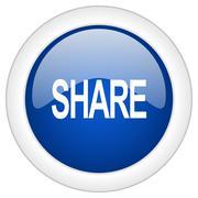 share icon, circle blue glossy internet button, web and mobile app illustrati - stock illustration