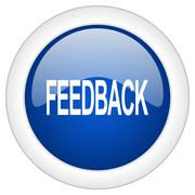 feedback icon, circle blue glossy internet button, web and mobile app illustr - stock illustration