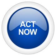 act now icon, circle blue glossy internet button, web and mobile app illustra - stock illustration
