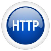 http icon, circle blue glossy internet button, web and mobile app illustratio - stock illustration