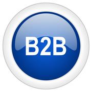 B2b icon, circle blue glossy internet button, web and mobile app illustration Stock Illustration