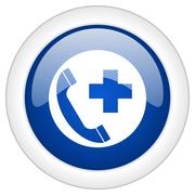 emergency call icon, circle blue glossy internet button, web and mobile app i - stock illustration