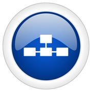 Database icon, circle blue glossy internet button, web and mobile app illustr Piirros