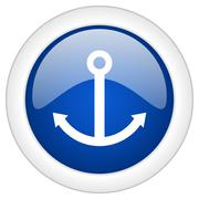 anchor icon, circle blue glossy internet button, web and mobile app illustrat - stock illustration