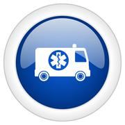 Ambulance icon, circle blue glossy internet button, web and mobile app illust Stock Illustration
