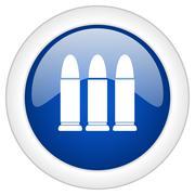 Ammunition icon, circle blue glossy internet button, web and mobile app illus Stock Illustration