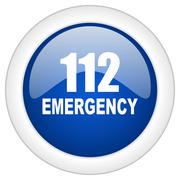 number emergency 112 icon, circle blue glossy internet button, web and mobile - stock illustration