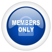 Members only icon, circle blue glossy internet button, web and mobile app ill Piirros