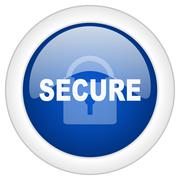 secure icon, circle blue glossy internet button, web and mobile app illustrat - stock illustration
