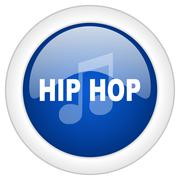 Hip hop icon, circle blue glossy internet button, web and mobile app illustra Stock Illustration