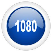 1080 icon, circle blue glossy internet button, web and mobile app illustratio - stock illustration