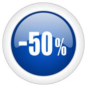 50 percent sale retail icon, circle blue glossy internet button, web and mobi - stock illustration