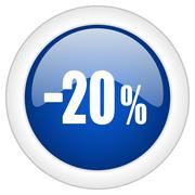 20 percent sale retail icon, circle blue glossy internet button, web and mobi - stock illustration