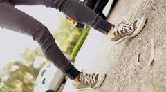 Funky dancing feet in urban street 4K stock video footage Stock Footage