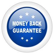 money back guarantee icon, circle blue glossy internet button, web and mobile - stock illustration