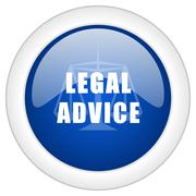 legal advice icon, circle blue glossy internet button, web and mobile app ill - stock illustration